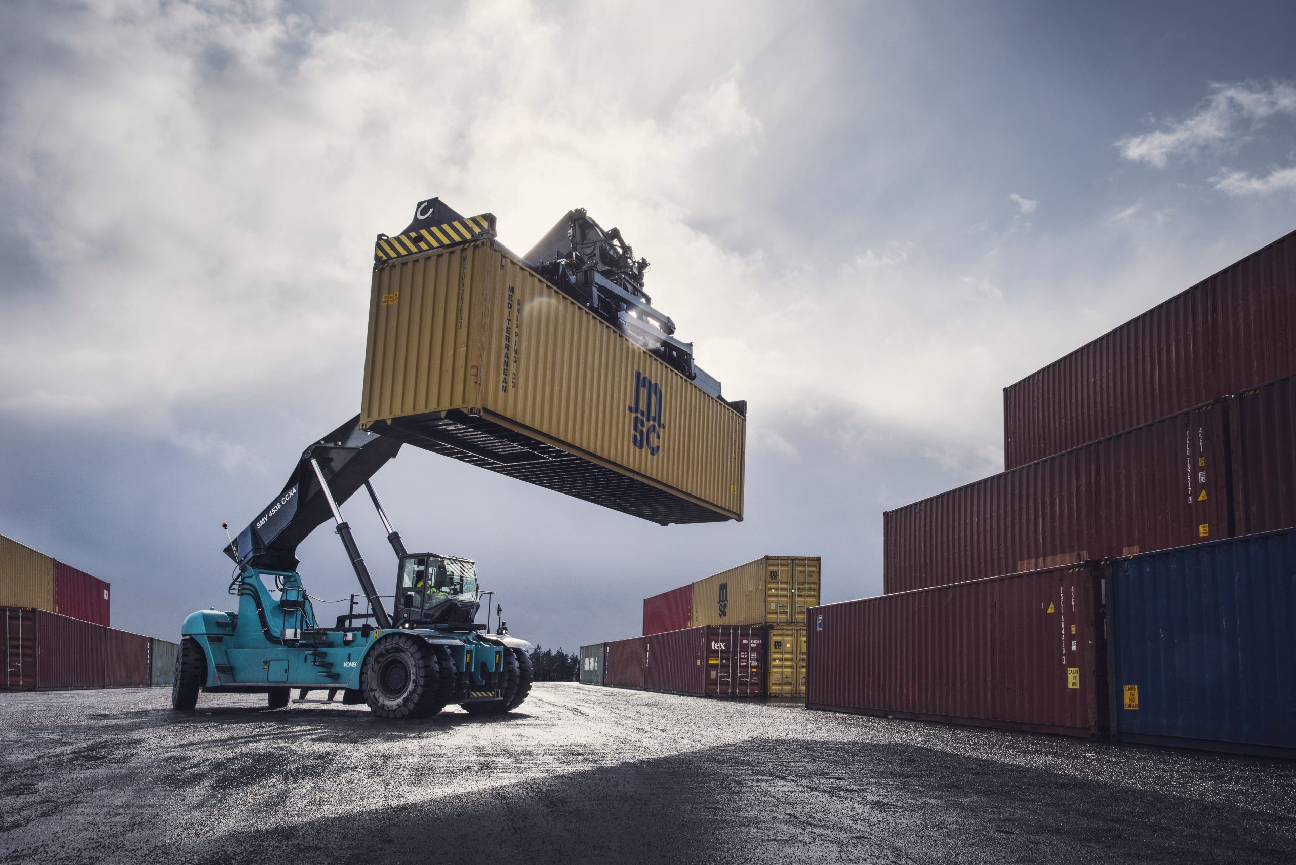 Crane and containers